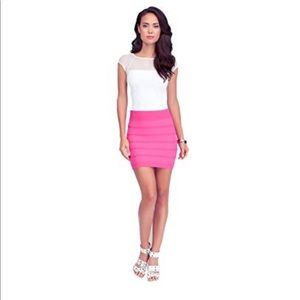 BEBE Women's Ottoman High Waisted Skirt Pink M/L
